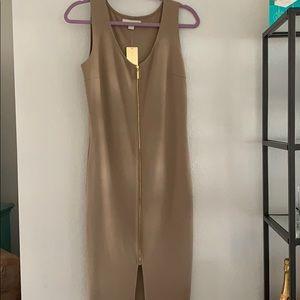 Tan body con zipper dress